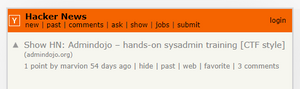 Screenshot of HN submission